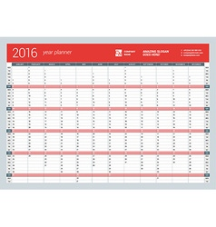 Yearly wall calendar planner template for 2016 vector