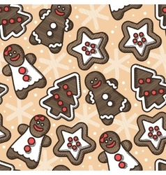 Seamless gingerbread and snoflakes vector