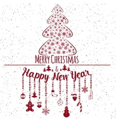 Happy new year and marry christmas holiday card vector