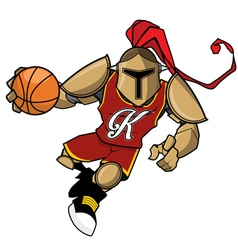 Basket ball mascot golden knight vector