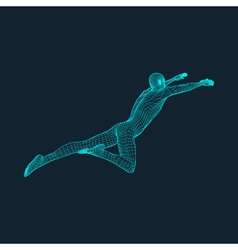 Jump man polygonal design 3d model of man vector