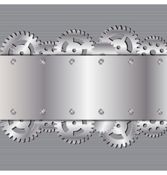 Abstract metal and glass background with frame and vector image vector image