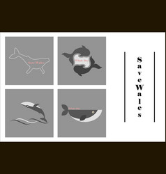 Assembly of flat icons on theme save whales vector