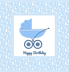 Birthday greeting card with blue stroller vector