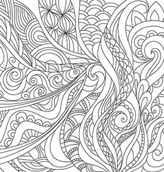 black and white pattern in a zentangle style vector image vector image