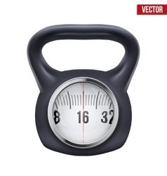 Black weight kettlebell with scale display vector
