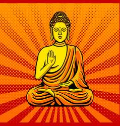 buddha statue monument pop art style vector image