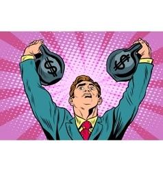 Businessman strongman lifts weights money vector image vector image