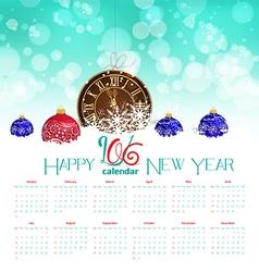 Calendar 2016 pocket watch in snow vector