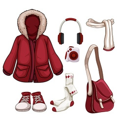 Clothes and accessories in red color vector