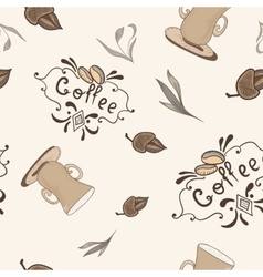 Coffe Pattern in Sketch Style vector image