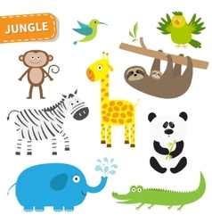 Cute jungle animal set cute cartoon character vector