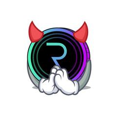 Devil request network coin mascot cartoon vector
