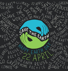 earth day poster hands shaped looks like the vector image vector image