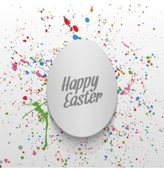 Easter realistic curved white paper egg banner vector