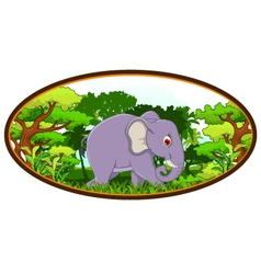 elephant cartoon with forest background vector image