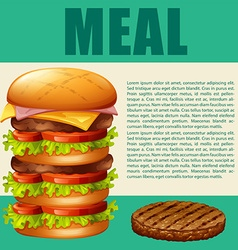 Food theme with hamburger vector image vector image
