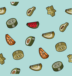 Fruit flat outline isometric pattern vector