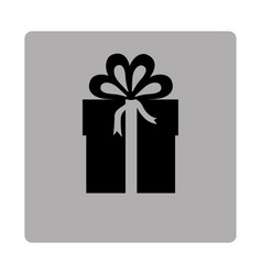 gray square frame with silhouette gift box with vector image