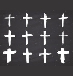 Grunge hand drawn cross symbols set christian vector