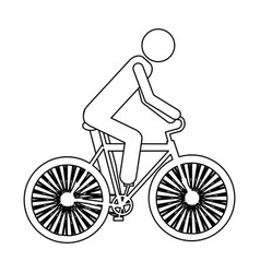 Monochrome contour pictogram of man in sport vector