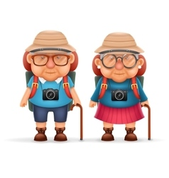 Old backpacker couple photo camera 3d travel vector