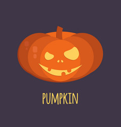 orange halloween pumpkin smiling vector image vector image