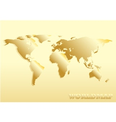 paper cut world map golden abstract vector image