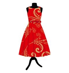 Red dress on mannequin vector image vector image