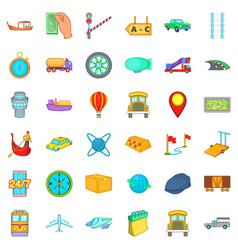 Slow delivery icons set cartoon style vector