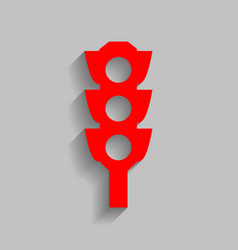 Traffic light sign red icon with soft vector