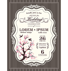 Vintage cherry blossom Wedding invitation card vector image vector image