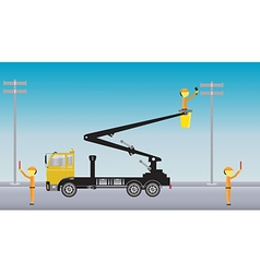 Electrician on Crane truck with Bucket vector image