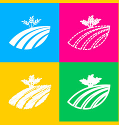 Wheat field sign four styles of icon on four vector