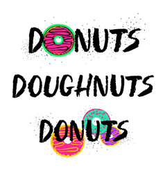 Hand drawn donuts lettering set vector