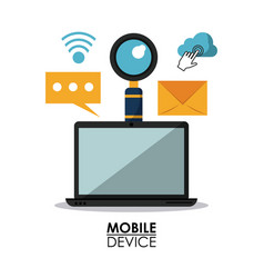 white background poster of mobile devices with vector image
