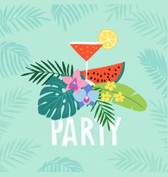 Hand drawn summer party greeting card invitation vector