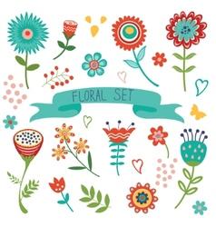 Floral decorative elements set vector image