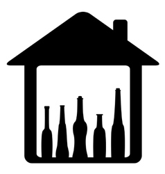 icon with bottle in home vector image