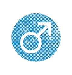 Male symbol mars icon with pixel print halftone vector