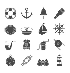 Black and white yachting icons set Anchor vector image