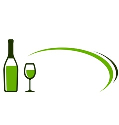 Background with white wine bottle and glass icon vector