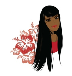 Pretty young african american woman vector