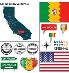 Los angeles california set vector