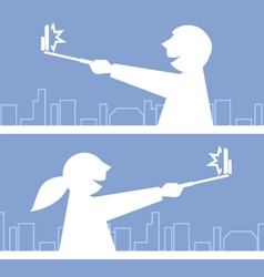 Girl and boy taking a photo with selfie stick vector