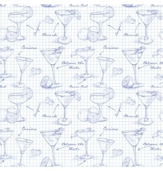 Scetch pattern unforgettables cocktails on vector