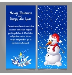 Snowman in red hat on a blue background of snow vector