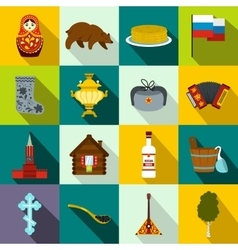 Russia flat icons vector