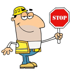 Male traffic director holding a stop sign vector
