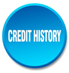 Credit history blue round flat isolated push vector